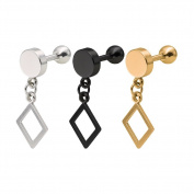 3pcs Cool Punk Square Shape Earring Unique Cute Tassel Ear Stud Body Piercing