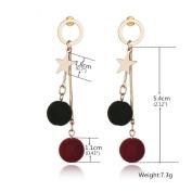 Long tassel earring Studs double balls Earrings Earring Jewellery Piercing Ear Ring