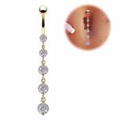 Rhinestone Long Dangle Navel Belly Ring Body Piercing Reverse Sexy Navel Rings Jewellery