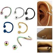Zhichengbosi 10 pcs Multifunction Stainless Steel S Twist Nose Lip Ring Earring Piecring Jewellery