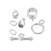 4mm Bullet Shaped Kumihimo Findings Set - Silver Plate