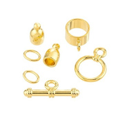 Bullet Shaped Kumihimo Findings Set (4mm) - Gold Plate