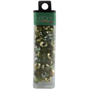 Square Tube Glass Bead Mix 60ml/Pkg-Green/Mirror Mix