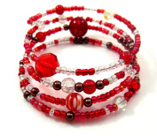 Memory Wire Bracelet Jewellery Making Kit Red with Instructions K0038