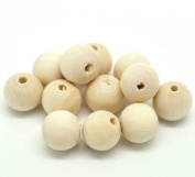 Pack of 20, Natural Wood Round Beads Diameter 12 MM Hole Size 1.1 MM