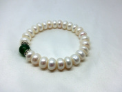 Freshwater White Real Pearl 10-11mm Oblate Beads Natural Agate Bracelet Wristlet Party Wedding Birthday Gift
