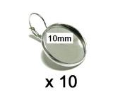 10x 10 mm Cabochon Leverback earrings Silver