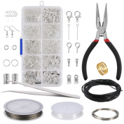 Jewellery Making Kit Jewellery Repair Kit Jewellery Finding Making and Starter Tools Kit Includes Plier, Tweezers, Silver Findings and Wire