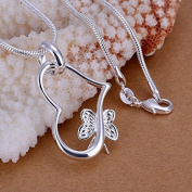 PriMI Simple Fresh Heart-shaped Butterfly Silver Pendant Necklace For Women