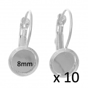 10 x 8 mm Cabochon Leverback earrings Silver Rhodium