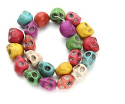 TFXWERWS Colourful DIY Bead Dyed Multicolor Turquoise Magnesite Skull Bead