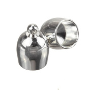 Bright Silver Plated Bullet Style Kumihimo End Cap 8mm