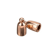 Copper Plated Kumihimo Jewellery Bullet End Cap 3mm PK2