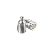 Bullet Style Silver Plated Kumihimo Cord End Cap 3mm