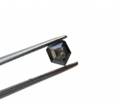 0.70CTW 5.3mm OOAK Clear Black Shield Shaped Salt And Pepper Faceted Diamond Rose Cut Cabochon, DDS515/6