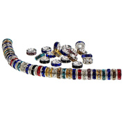 200 Pieces Rondelle Beads Spacer Beads Silver Plated Crystal Loose Beads for Jewellery Making, Mixed Colours