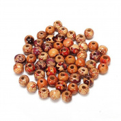 100pcs Loose Wood Round Beads Painted Pattern Barrel Beads Gemstone Wood Spacer for Jewellery Making Bracelet DIY Handmade Craft Charms