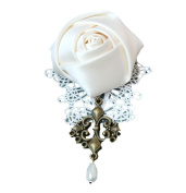 Skyeye Vintage White Lace Beautiful Rose Flower Drop Brooch Pin for Party