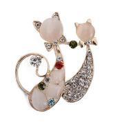 Dosige Fashion Vintage Double Kittens Crystal Brooch Pin Wedding Rhinestone Dress Accessories