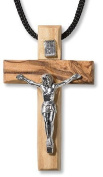 Olive Wood Wooden Cross Crucifix Necklace handmade from Holy Land - PEN131
