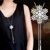 Bodhi2000® Womens Snowflower Long Adjustable Chain Pendant Elegant Sweater Necklace
