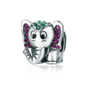 Lucky Elephant 925 Sterling Silver Beads Charms Green Purple CZ Christmas Gifts Fits European Bracelets Fashion Jewellery