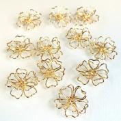 Sakura's three-dimensional wire charm 5 pieces gold