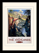"""National Railway Museum """"The Highlands"""" Mounted and Framed Print, Multi-Colour, 30 x 40 cm"""