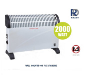 Rikdev® 2 KW Convector Heater with Thermostat and Turbo Fan - Portable Silent Free Standing or Wall Mounted Heater (Fittings Included) - Energy Saver - White