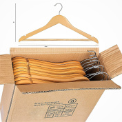 ARIANA® PACK OF 20 HIGH Quality Wooden Hanger Multifunctional High-Grade Solid Wood Suit Hangers, Natural Finished Coat Hanger