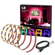 LE LED TV Backlight Strip Light, Waterproof 30 LEDs 5050 SMD RGB Multi Colour Flexible TV Background Bias Lighting Kits for HDTV and Desktop PC, DC 5V USB Cable Mini Controller Included, 2 Metre