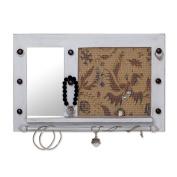 NOVICA Wall Mirror and Jewellery Rack, White
