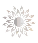 High Quality 3D Acrylic Sun Flower-Shaped Mirror Wall Sticker for Living Room Home Decoration Silver