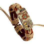 Yiwa Fashion Vintage Unisex Pyrography Cortex Leather Chain Bracelet Christmas Gifts