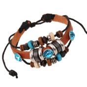 Yiwa Fashion Creative Vintage Multi Circle Beaded Leather Bracelet Unisex Jewellery Christmas Gift