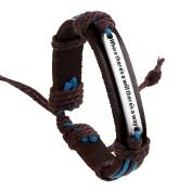 Yiwa Unisex Vintage Exotic Style Braided Knit Leather Adjustable Chain Bracelet