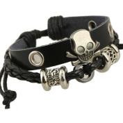 Yiwa Unisex Skull String Beads Leather Bracelet Creative Personality Fashion Decoration as Christmas Gift