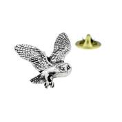 pewter flying barn owl Lapel Pin Badge / tie pin, Lapel Pin Badge,in gift box made in UK