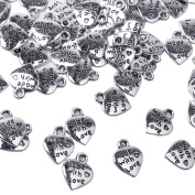euhuton 100 Pieces MADE WITH LOVE Tibetan Silver Heart Charm Pendants Valentine's Day Antique Silver for DIY Crafting Jewellery Making