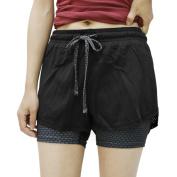 Women Size M Plaid Pattern Mesh Running Yoga Workout Fitness Sport Shorts Pants