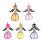 perfk 5 Pieces Beautiful Guardian Angel Charms Pendants Faceted Acrylic Heart Beads Wings fit Necklace Earring Bracelet Crafts DIY Jewellery Making Accessories