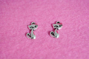 Accessory parts Charm green cats Silver fairy tale 1 piece 17 mm