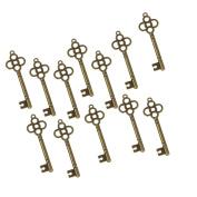20pcs Skeleton Antique Bronze Key Charms 46mm Wedding Santa Pendant Decor
