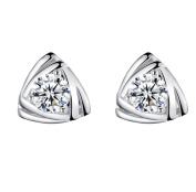 Lanaso Diamond Triangle Earrings Silver Sterling Earrings Ear Stud Earrings Stud Clip Gifts Women Girls