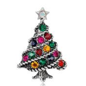 MingJun Christmas Decorations Colourful Rhinestone Christmas Tree Brooch Christmas Party Gift Brooch Pin