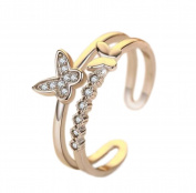 TREESTAR Rhinestone Ring Gift Butterfly Love Fashion Rings For Girls Women Men 1PCS