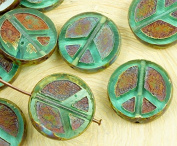 4pcs Picasso Brown Crystal Aquamarine Blue Green Turquoise Clear Peace Sign Love Tree Of Life Charm Pendant Coin Flat Round Table Cut Window