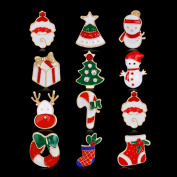 ZHOUBA 12Pcs Christmas Tree/Elk/Santa Claus/Snowman/Sock Style Brooch Pin Jewellery Gift