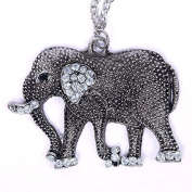 ZHUOTOP Women's Hot Retro Crystal Carved Elephant Long Chain Sweater Necklace