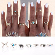ZHUOTOP 7Pcs/Set Bohemian Sliver Plated Knuckle Ring Turquoise Arrow Moon Open Midi Ring